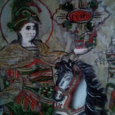 Icoana  pe sticla de sec 19 ( posibil Nicolae Catavei) 47 cm cu 42 cm