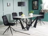 Set masa din ceramica, sticla si metal Mavis Gri / Negru + 4 scaune tapitate cu stofa Tilde Velvet Negru, L180xl90xH76 cm
