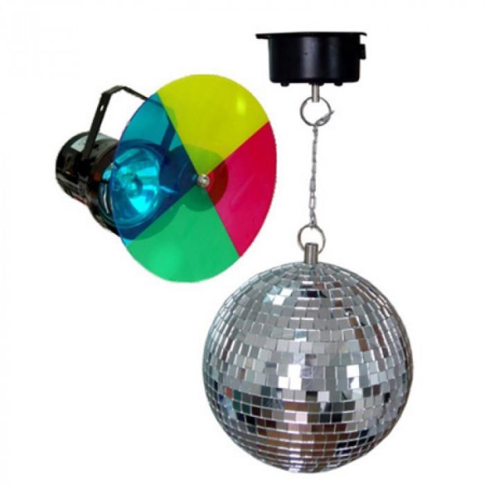 Set Proiector si Lampa disco, glob 20 cm, motor pentru glob