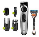 Aparat de tuns barba Braun BT5265, buton rotativ de precizie, 3 accesorii si aparat de ras Gillette Fusion5 ProGlide