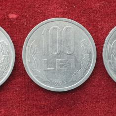 Lot x 3 monede  100 Lei 1993, 1994 & 1995 Mihai Viteazul