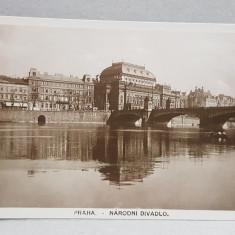 PRAGA , TEATRUL NATIONAL , VEDERE DINSPRE VLTAVA , CARTE POSTALA ILUSTRATA , MONOCROMA , NECIRCULATA , DATATA 1924