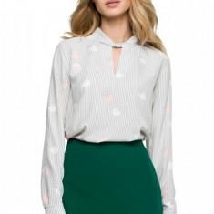 Bluza cu dungi verticale si buline, 2XL, L, M, S, XL, Gri