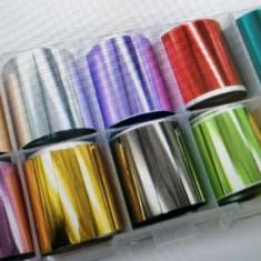Set 10 folii holografice transfer unghii Nail Art Transfer Sticker