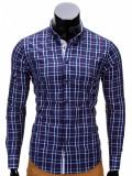 Camasa pentru barbati bleumarin in carouri slim fit casual elastica cu guler k327