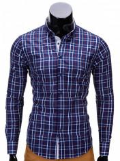 Camasa pentru barbati, bleumarin, in carouri, slim fit, casual, elastica, cu guler - k327 foto