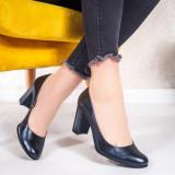 Pantofi Piele dama cu toc albastru inchis Udarsia