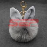 Breloc pompon puf bunny