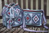 Cumpara ieftin Set genti handmade crosetate ornamentate cu motivul popular din Banat ciutura, Geanta de umar, Gri, Microfibra