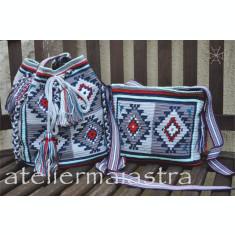 set genti handmade crosetate ornamentate cu motivul popular din Banat ciutura