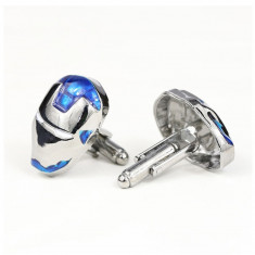 Set butoni  metalici super erou Iron Man, arginitii cu albastru + ambalaj cadou