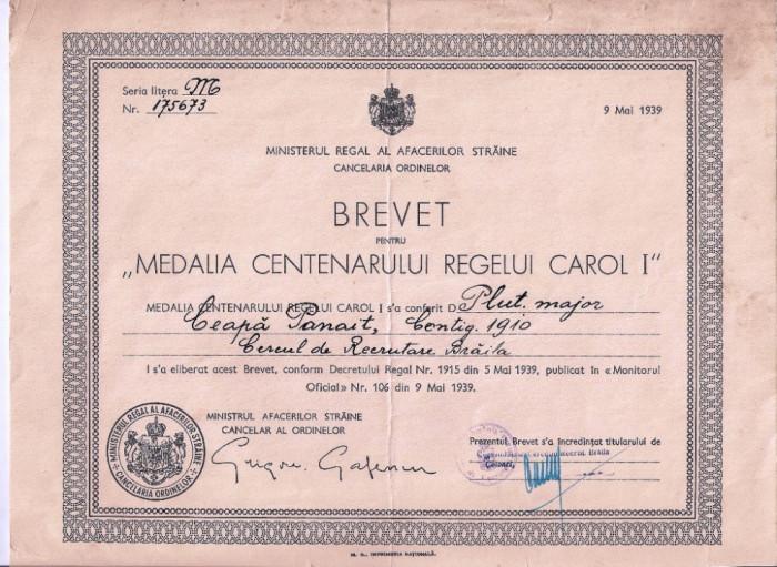 """BREVET PENTRU  """"MEDALIA CENTENARUL REGELUI CAROL I """" SEMNATA G. GAFENCU"""
