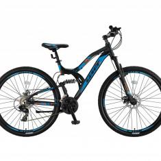 "Bicicleta MTB Full Suspensie UMIT Kratos 2D , culoare negru/albastru ,roata 26"" PB Cod:26551000001, Discuri"