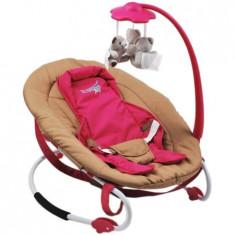 Balansoar U-Grow cu spatar reglabil, Maro / Strawberry Pink, Textil, Roz