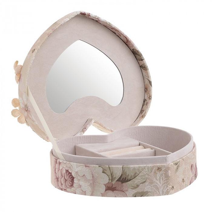 Caseta de bijuterii, moderna si rafinata, in forma de inima, cu invelis textile si imprimeu floral, Nago, Roz Pudra, 21.5 x 19 x 9 cm