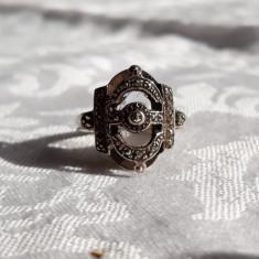INEL argint AUSTRIA 1900 batut in Marcasite SPLENDID vintage PATINA MINUNATA rar