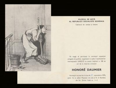 1979 Invitatie vernisaj Expozitia de arta Honoré Daumier, Cabinetul de Stampe foto