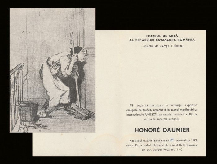 1979 Invitatie vernisaj Expozitia de arta Honoré Daumier, Cabinetul de Stampe