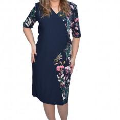 Rochie de ocazie Ingrida cu imprimeu floral in lateral ,bleumarin