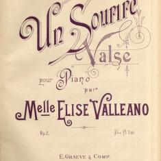 Un Sourire - Valse - Elise Valleano Partitura Muzicala Romaneasca E. Graeve