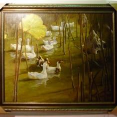 Tablou pictat manual pe panza in ulei A-126, Natura, Realism