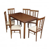 Set dining 1+6, material textil bej lemn finisaj nuc, OLEG NEW