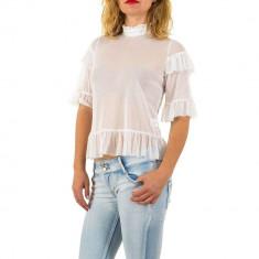Bluza usor transparenta, de culoare alba, cu maneci scurte, L, M, S, Alb