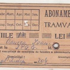 bnk  div Abonament Tramvaie Bucuresti - anii `50-`60