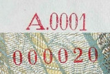 !! serie EXTREM de mica A 0001 seria 000020 !!   1991 --> Romania 500 Lei