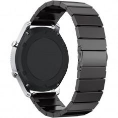Curea pentru Smartwatch Samsung Gear S3, iUni 22 mm Otel Inoxidabil Black Link Bracelet