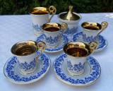 Serviciu pentru patru persoane de cafea din portelan german aurit, Seturi