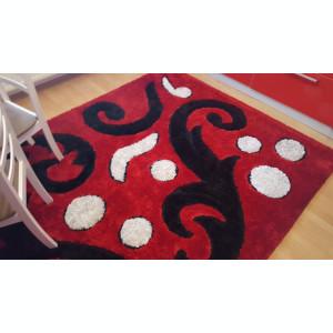 Covor rosu shaggy 2x3m cu fir de matase