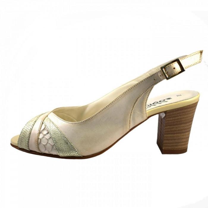 Sandale dama, din piele naturala, marca Zodiaco, RBA059-52-N-4, crem , marime: 38