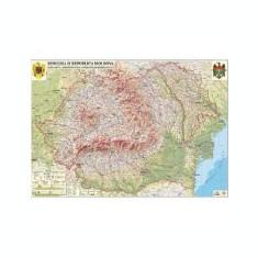Romania si Republica Moldova. Harta fizica, administrativa si a substantelor minerale utile, 1000x700mm, fara sipci (GHRF100-L)