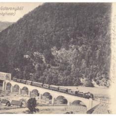 3398 - RAUL-VADULUI, Valcea, Train, Bridge, Romania - old postcard - used - 1906