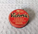 Cutie veche din tabla Victoria Bucuresti, cutie crema ghete anii 60