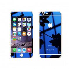 Folie Sticla iPhone 6 iPhone 6s Tuning Albastru Oglinda Fata+Spate Tempered Glass Ecran Display LCD