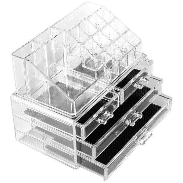 Organizator cosmetice din acril cu 4 sertare si 16 compartimente