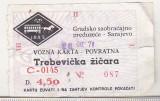 bnk  div Bilet de telecabina - Sarajevo - 1971
