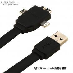 Cablu Date Usams Samsung Galaxy Note 3, N9000 3 in 1 Negru