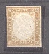 Italy Sardinia 1855 Definitives, King Viktor Emanuel II, 10c brown, MH AM.097 foto