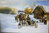 Tablou / Pictura tema de iarna semnat Cimpoesu.