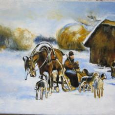 Tablou / Pictura tema de iarna semnat Cimpoesu., Portrete, Ulei, Realism