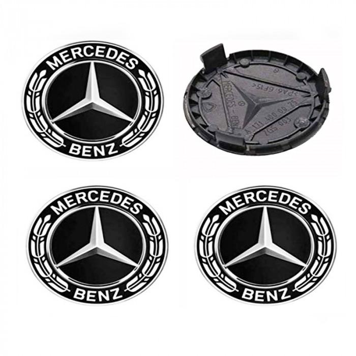 Set 4 capacele roti 75mm, pentru jante aliaj Mercedes