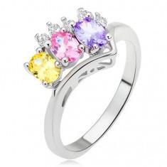 Inel - ştrasuri ovale, colorate, braţe îndoite într-un vârf ascuţit - Marime inel: 54