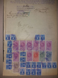 LOT 36 Document 1933 cu timbre fiscale Carol al II lea-efigia in cerc.aviatie, Stampilat