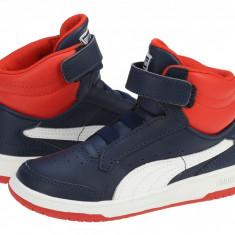 Adidasi ghete copii Puma Full Court High V Kids peacot-white-high risk red 35399811, Baieti, 19, 21, Bleumarin