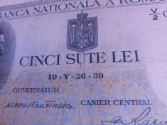 bancnote romanesti 500lei 1939 fara supratipar raruta foto
