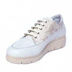 Pantofi dama din piele naturala, MIO, Peter, Alb, 41 EU