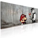 Tablou canvas 5 piese - Mario Bros pe beton - 225x90 cm, Artgeist